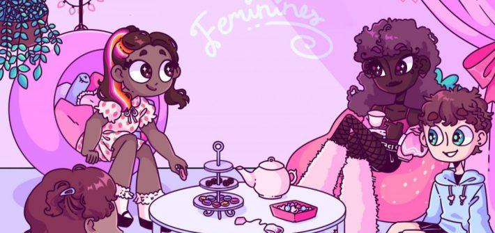 Femiiniinejä, ihonväreiltään erilaisia ihmisiä kahvittelemassa. Piirroskuva.