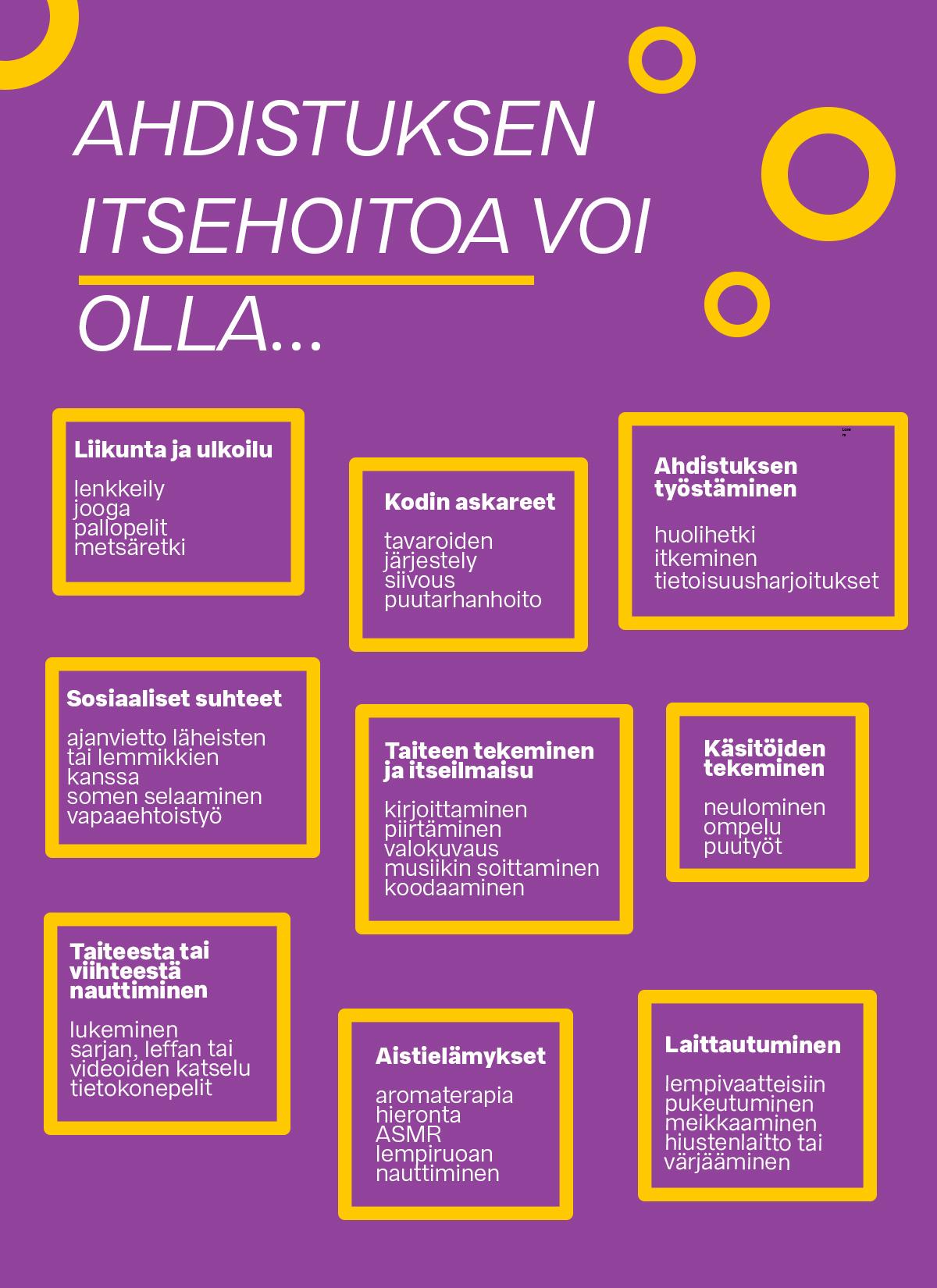 Violetilla pohjalla esimerkkejä eri tavoista hoitaa itseä, tekstimuodossa keltareunaisissa laatikoissa.. Kuvan tekstisisältö löytyy laajennettuna versiona uuteen ikkunaan avautuvasta itsehoitoharjoitteesta.