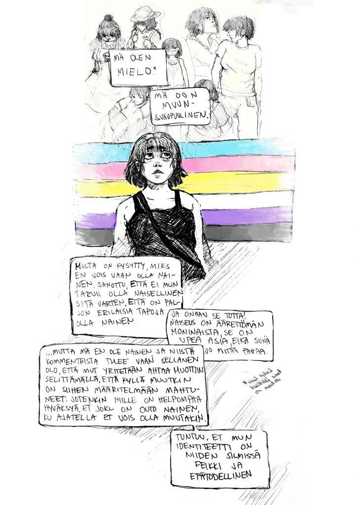 Kuvassa on henkilö, jolla hihaton paita ja laukku ja taustalla transidentiteettejä kuvastava lippu. Kuvatekstit kuvan alla.