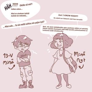 Kuvassa kaksi piirrettyä hahmoa puhuvat toisilleen. Toinen on maskuliininen 13-vuotias ja toinen feminiinienen 23-vuotias. Tekstit kuvien alapuolella.