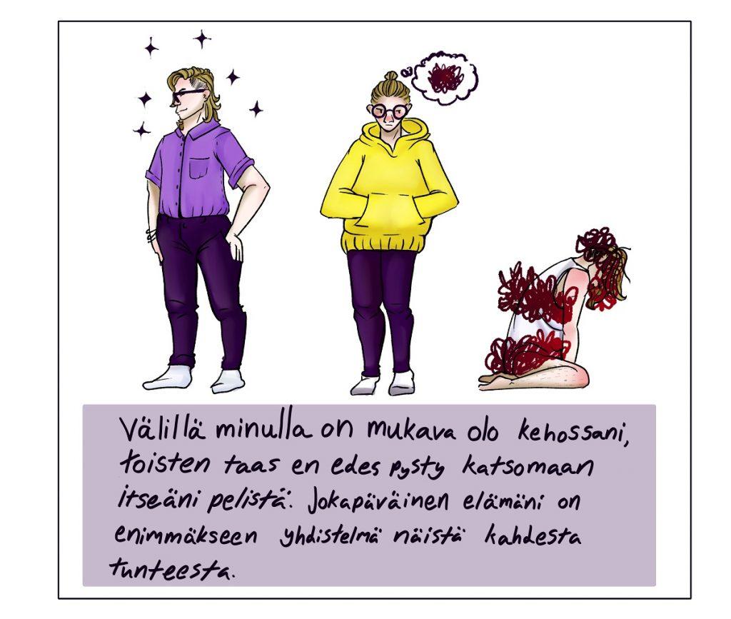 Kuvassa on kolme kuvaa piirtäjästä, joista ensimmäinen seisoo ypeästi kauluspaidassa ja violeteissa housuissa hiukset auki, toinen keskellä kädet hupparin etutaskuissa ja ajatuksissa on suttua ja kolmas kyyryssä polvillaan maassa alusvaatteissa ja päässä, keskivartalossa ja lantiolla on voimakasta suttua.